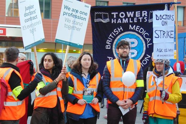 Junior doctors on picket lines in London on 12 January