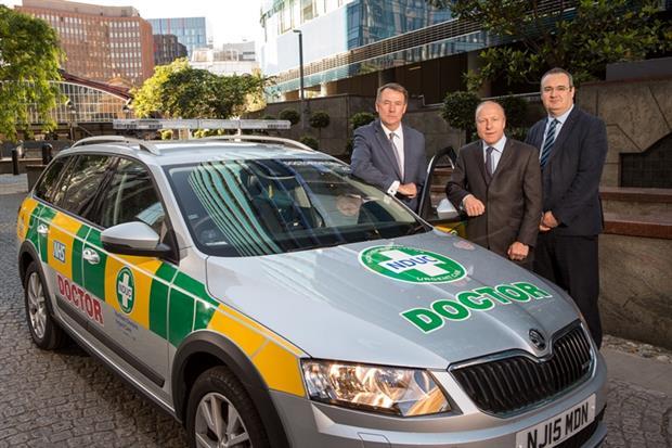 Insurance deal. From left: Kevin Culliney, Lockton; Chris Gamber, Beazley Lloyd's; John Harrison, Vocare.