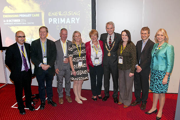 The category winners, including Prof Carolyn Chew-Graham (centre), pictured with RCGP chair elect Dr Helen Stokes-Lampard (far right), RCGP president Dr Terry Kemple (third from right) and RCGP chair of clinical innovation Dr Imran Rafi (far left)