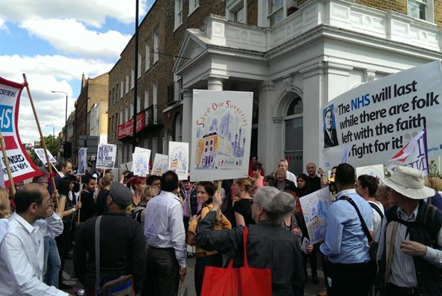 Save our Surgeries campaigners protesting over cuts to funding because of the withdrawal of MPIG last year