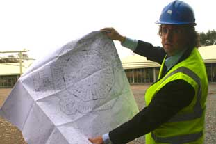 Blue Diamond managing director Alan Roper with his plans for an Octagonal planteria in the Channel Islands - photo: HW