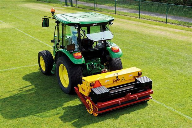 Overseeding: can help restore damaged areas and thicken and strengthen the sward - image: Campey Turf Care Systems