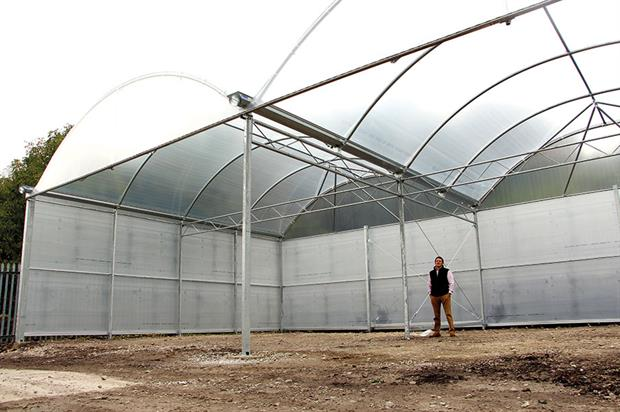 Altus: format based on a high glasshouse framework but with an ultraviolet-open polythene roof rather than a glass apex