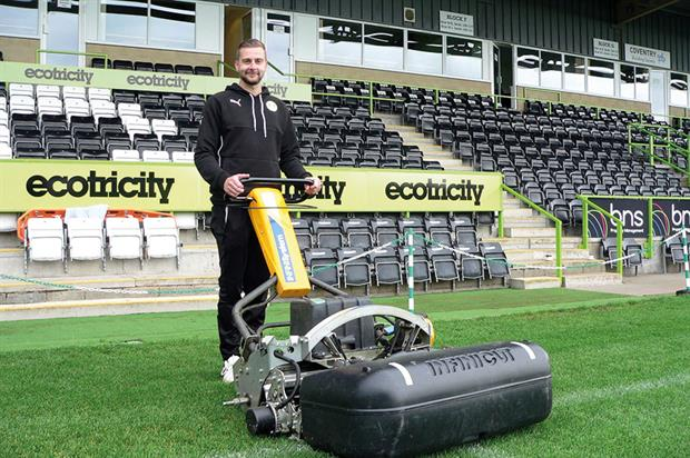 Forest Green Rovers FC: head groundsman Matt Rainey with ATT 30in INFiNiSystem - image: The Grass Group