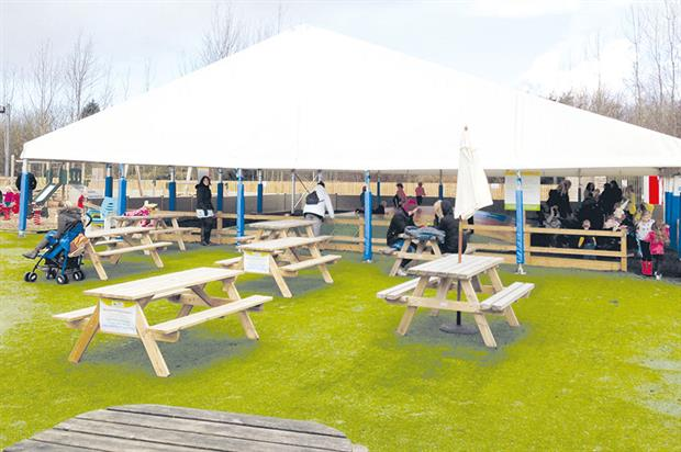 Tong Garden Centre: marquee covers bouncy trampoline put in by Jumping Pillows and a second has been ordered - image: HW