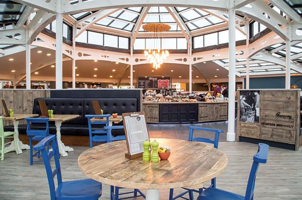 Garsons Garden Centre: redeveloped catering facilities housed in an octagonal glass atrium built on a steel frame