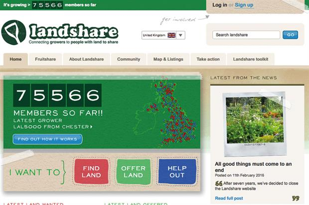 Landshare: helped people to borrow spare plots of land