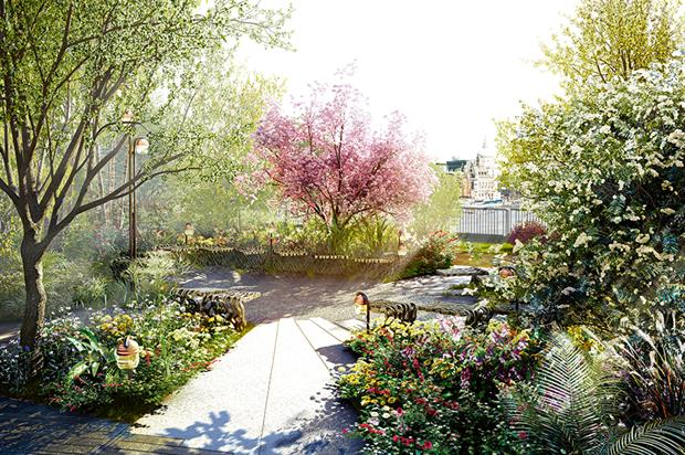 Garden Bridge: planting scheme mock-up is being built - image: Arup