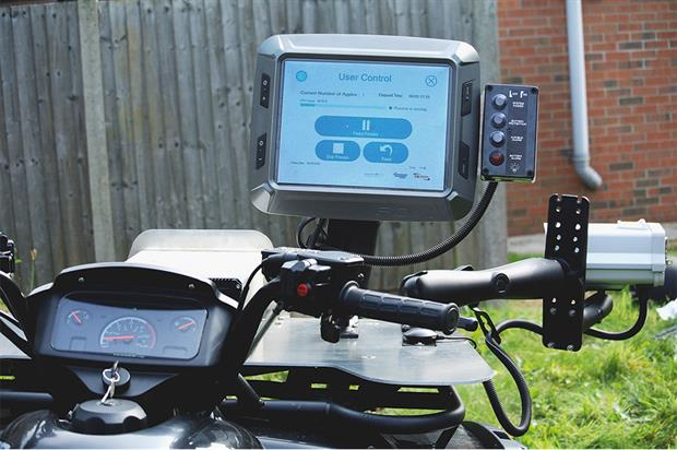 Omnia Fruit Vision: mounted on quad bike to count and grade apples - image: Hutchinsons