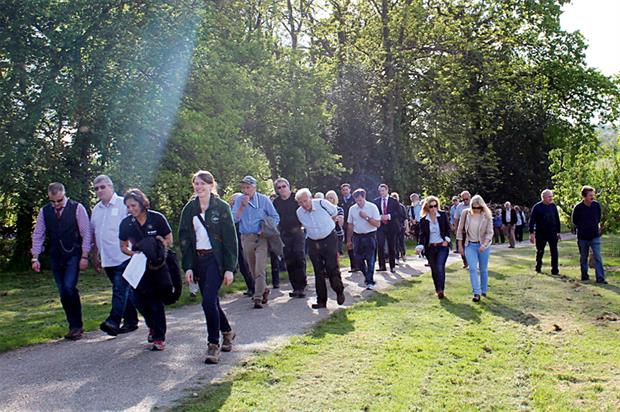 Spring walk: visitors see orchards at Northiam Farm in Horsmonden