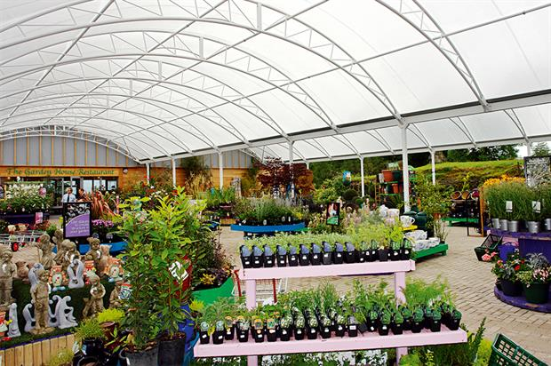 Canopies and covered walkways: popular options for garden centres and retail nurseries to offer a safe shopping environment - image: NP Structures