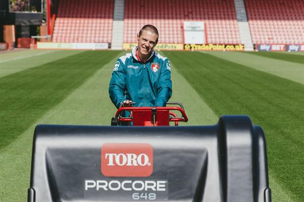 AFC grounds manager James Lathwell and the Toro ProCore