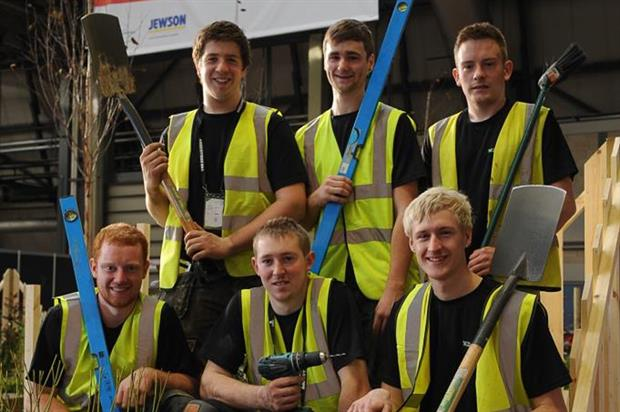 Photos: APL WorldSkills UK Final Finalists: Back row – Aaron Quin from CAFRE, Will Burberry from Gardenscapes, Mark Chapelhow from Wildroof Landscapes. Front row - Adam Ferguson, Noel Taggart from CAFRE, Christopher Shore from Reaseheath College.