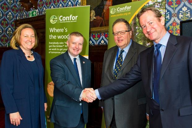 L-R: Anne-Marie Trevelyan MP (APPGF vice-chair), Chris Davies MP (chair), Lord Boswell of Aynho (vice-chair), Stuart Goodall (CEO, Confor) - image: Confor