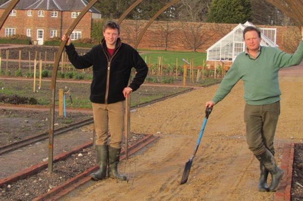 Geordie (left) and Angus Gordon Lennox at the planting of the pear tunnel. Image: Supplied