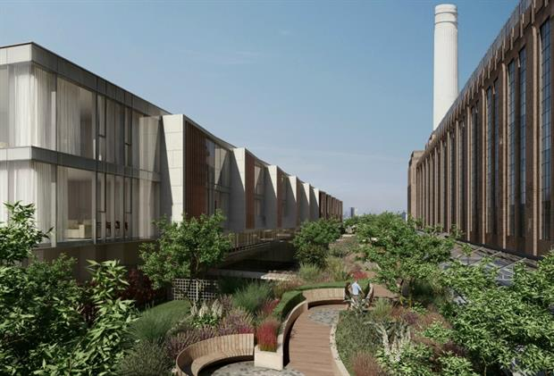 High end retrofit: CGI of Battersea Power Station roof garden by Andy Sturgeon