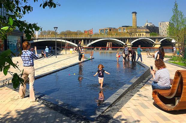 Riverside landscaping as part of Battersea Power Station project - image: LDA Design
