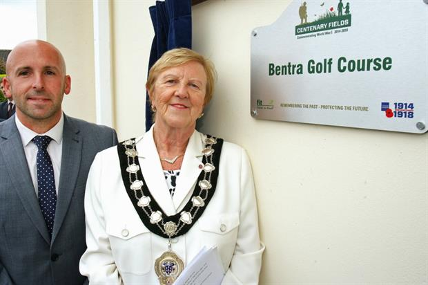 Mayor Audrey Wales, left, with Fields in Trust's Terry Housden. Image: Supplied