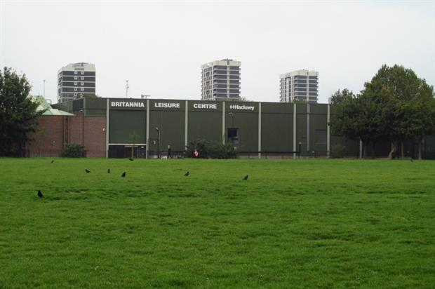 Britannia Leisure Centre as seen from Shoreditch Park. Image: David Holt/Flickr