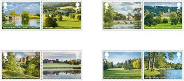 Capability Brown stamps show some of the UK's best-loved landscapes. Picture: Royal Mail