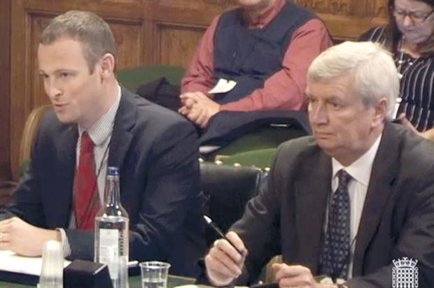 Committee inquiry: Chris Chinn (left) of Cobrey Farms and HTA policy adviser David Brown speaking at the hearing - image: ParliamentLive.TV