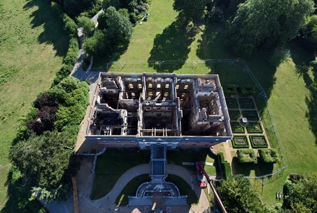 View from above shows damage caused by the fire. Image: National Trust