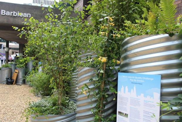 This pop-up garden next to The Barbican is part of a Low Emission Neighbourhood (LEN). Image: City of London Corporation
