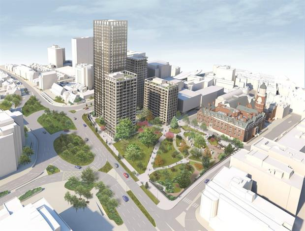 CGI of the complete design in central Croydon. Image: AHMM