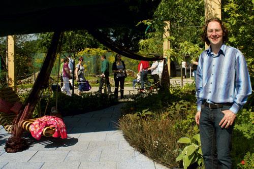 Planting palette: award-winning garden designer Tim Austen with one of his creations at the Bloom garden show in Dublin - image: HW