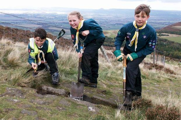 First Marston Moor Scouts clearing drainage channels. Image: Tammy Andrews/North York Moors