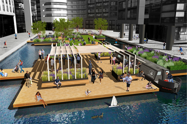 The floating park will have planted and pedestrian areas. Image: European Land