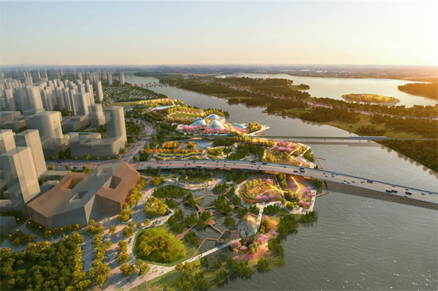 Aerial view of the park design. Image: Grant Associates