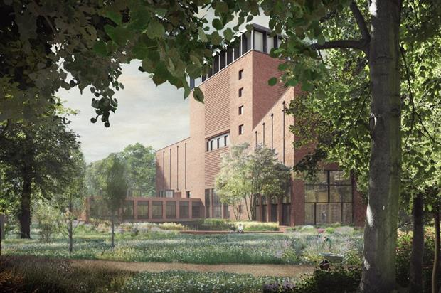 Artist's view of the new building from the garden. Image: Wright & Wright