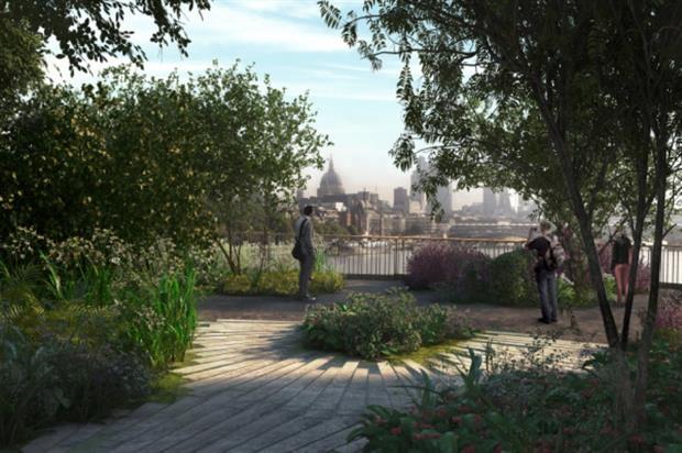 Artist's impression of a view from the Garden Bridge. Image: Supplied by Garden Bridge Trust