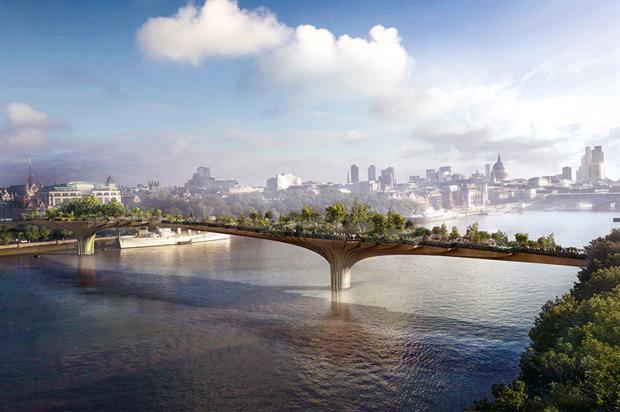 The proposed Garden Bridge. Image: Supplied