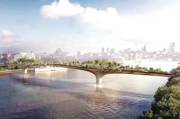 An artist's impresson of the Garden Bridge - Image: Arup