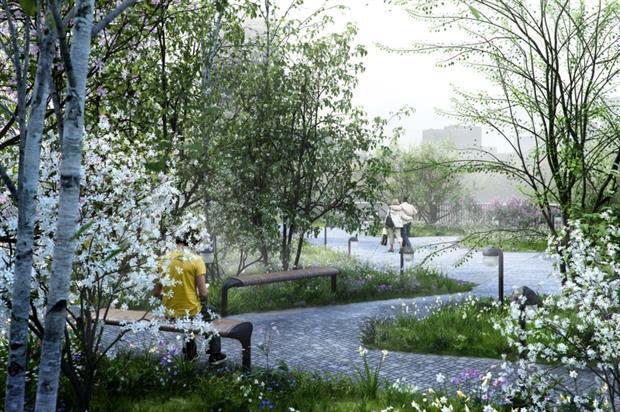 Artist's impression of the Garden Bridge in spring. Image: Garden Bridge Trust