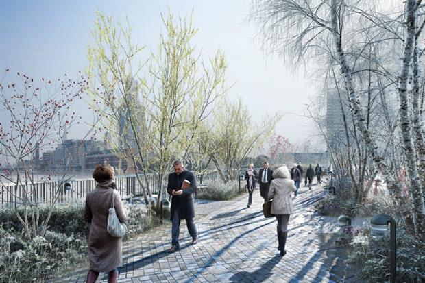How the Garden Bridge could look in winter. Image: Garden Bridge Trust