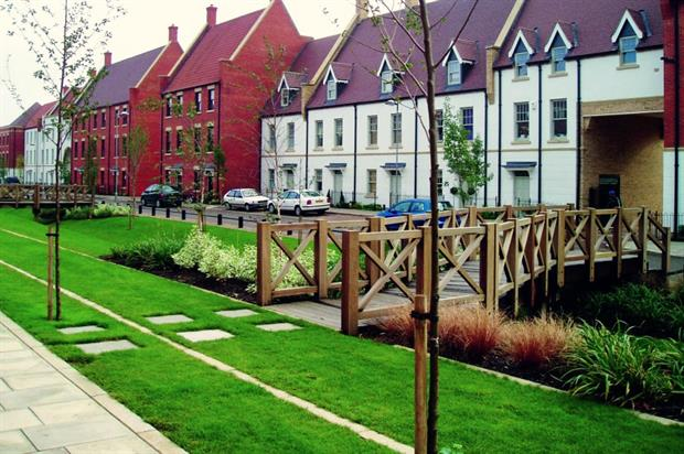 Housing with rain gardens. Image: TCPA