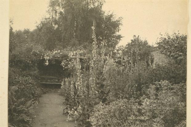 """Gertrude Jekyll, """"Flower Border in July with Groups of Mulleins, Sea Holly and other Summer Flowers"""", 1886 ©Garden Museum"""