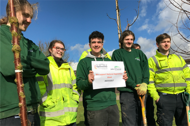 John O'Conner's apprentices supporting National Apprenticeship Week. Image: John O'Conner