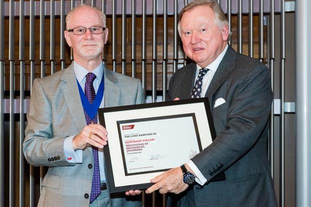 IMechE president Professor Richard Folkeson, left, with JCB's Lord Bamford. Image: Supplied