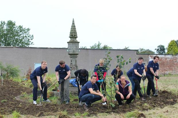 Volunteers make a start clearing the walled garden