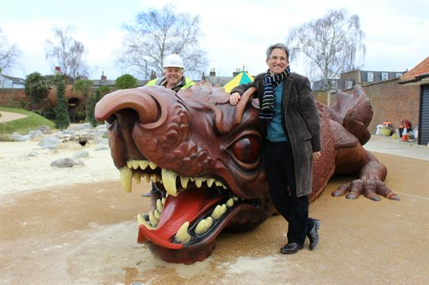 Martin Wiles, left, with Robert Myers and the Magic Garden dragon. Image: HW