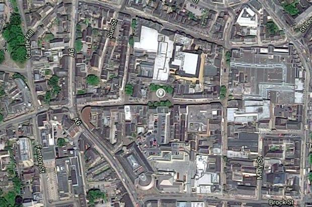 Lancaster's Market Square (marked) lies in an area of low tree canopy cover - image: Google
