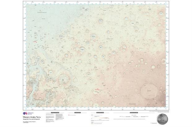 Map of the Martian landscape. Image: Ordnance Survey 2016