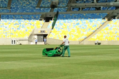 The Mastiff in action in the Maracana stadium, Rio de Janiero
