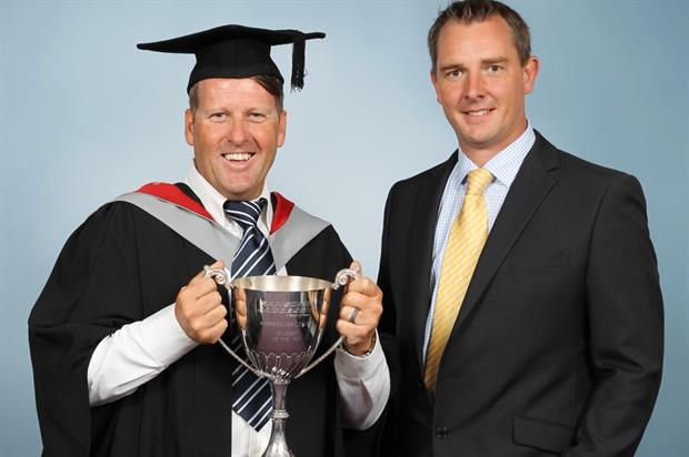 Michael Boyes, left, with Ransomes Jacobsen's David Timms. Image: Supplied
