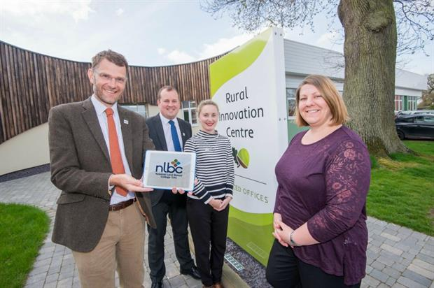 (l-r) NLBC staff: Leigh Morris, Luke Harmer and Sarah Purdell and Liz Burkinshaw Innovation Centre manager Image: NLBC
