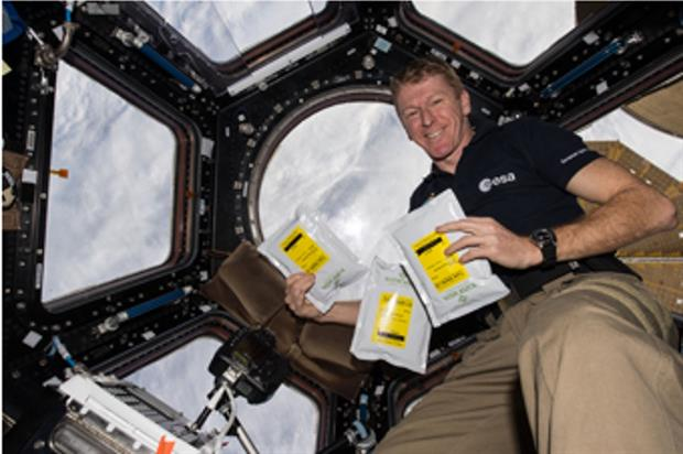 Tim Peake on board ISS with the seeds - image: ESA